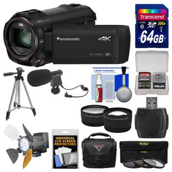 Panasonic HC-VX870 4K Ultra HD Wi-Fi Video Camera Camcorder with 64GB Card + Case + LED Light + Microphone + Tripod + Filters + Tele/Wide Lens Kit