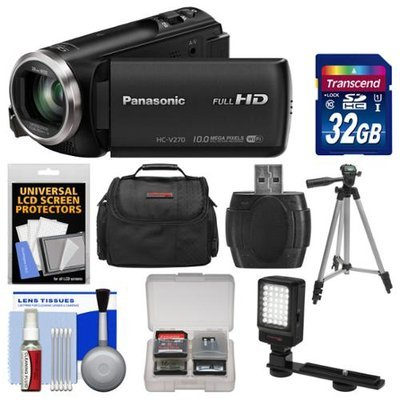 Panasonic HC-V270 HD Wi-Fi Video Camera Camcorder with 32GB Card + Case + LED Light + Tripod + Kit