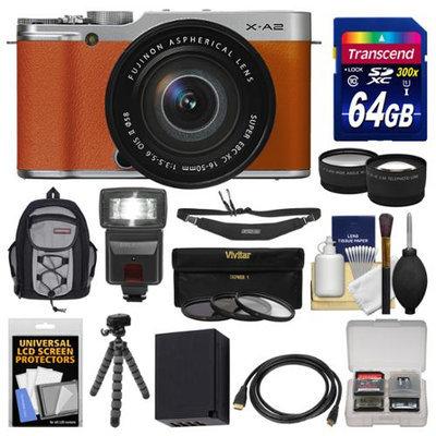Fujifilm X-A2 Wi-Fi Digital Camera & 16-50mm XC Lens (Brown) with 64GB Card + Case + Flash + Battery + Tripod + Tele/Wide Lens Kit + FUJIFILM USA Warranty