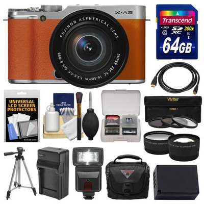 Fujifilm X-A2 Wi-Fi Digital Camera & 16-50mm XC Lens (Brown) with 64GB Card + Case + Flash + Battery & Charger + Tripod + Tele/Wide Lens Kit + FUJIFILM USA Warranty