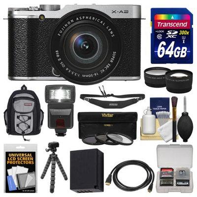 Fujifilm X-A2 Wi-Fi Digital Camera & 16-50mm XC Lens (Silver) with 64GB Card + Case + Flash + Battery + Tripod + Tele/Wide Lens Kit + FUJIFILM USA Warranty