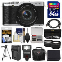 Fujifilm X-A2 Wi-Fi Digital Camera & 16-50mm XC Lens (Silver) with 64GB Card + Case + Flash + Battery & Charger + Tripod + Tele/Wide Lens Kit + FUJIFILM USA Warranty