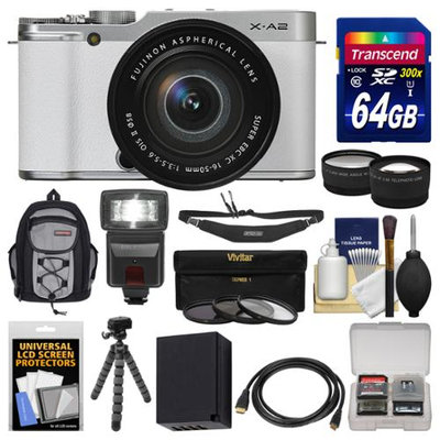 Fujifilm X-A2 Wi-Fi Digital Camera & 16-50mm XC Lens (White) with 64GB Card + Case + Flash + Battery + Tripod + Tele/Wide Lens Kit + FUJIFILM USA Warranty