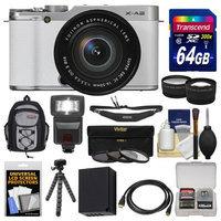 Fujifilm X-A2 Wi-Fi Digital Camera & 16-50mm XC Lens (White) with 64GB Card + Case + Flash + Battery + Tripod + Tele/Wide Lens Kit + FUJIFILM USA Warranty
