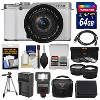 Fujifilm X-A2 Wi-Fi Digital Camera & 16-50mm XC Lens (White) with 64GB Card + Case + Flash + Battery & Charger + Tripod + Tele/Wide Lens Kit + FUJIFILM USA Warranty