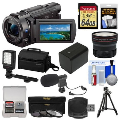 Sony Handycam FDR-AX33 Wi-Fi 4K Ultra HD Video Camera Camcorder with 64GB Card + Sony Case & Tripod + LED Light + Microphone + Battery + Fisheye Lens Kit