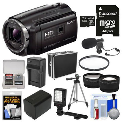 Sony Handycam HDR-PJ670 32GB Wi-Fi 1080p HD Video Camera Camcorder with Projector with 64GB Card + Case + LED Light + Mic + Battery/Charger + Tripod + Tele/Wide Lens Kit