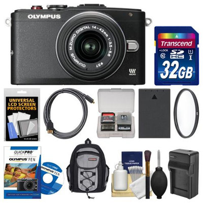Olympus PEN E-PL6 Micro 4/3 Digital Camera & 14-42mm II R Lens with 32GB Card + Backpack + Battery & Charger + Filter + Kit + OLYMPUS USA Warranty