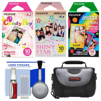 Essentials Bundle for Fujifilm Instax Mini 8 & Mini 90 Instant Film Camera with 30 Candy/Rainbow/Shiny Star Prints + Case + Cleaning Kit