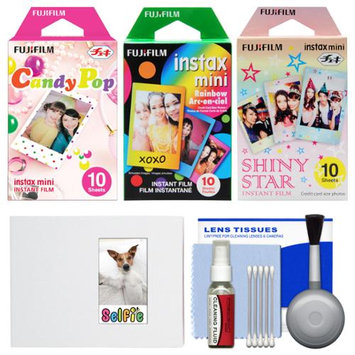 Essentials Bundle for Fujifilm Instax Mini 8 & Mini 90 Instant Film Camera with 30 Candy/Rainbow/Shiny Star Prints + Cleaning Kit