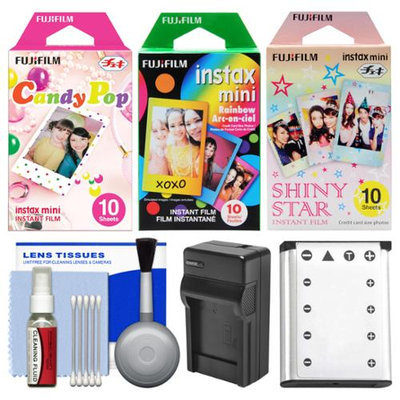Essentials Bundle for Fujifilm Instax Mini 90 Instant Film Camera with 30 Candy/Rainbow/Shiny Star Prints + Battery & Charger + Cleaning Kit