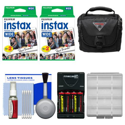Essentials Bundle for Fujifilm Instax 210 & Wide 300 Instant Film Camera with 40 Wide Prints + Case + Battery & Charger + Cleaning Kit