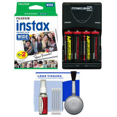 Essentials Bundle for Fujifilm Instax 210 & Wide 300 Instant Film Camera with 20 Wide Prints + Battery & Charger + Cleaning Kit