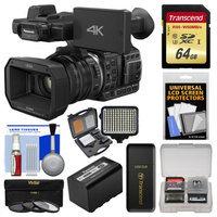 Panasonic HC-X1000 4K Ultra HD Wi-Fi Video Camera Camcorder with Panasonic VW-VBD58 Battery + 64GB Card + LED Light Set + 3 Filters + Kit