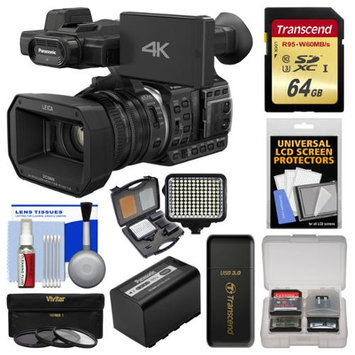 Panasonic HC-X1000 4K Ultra HD Wi-Fi Video Camera Camcorder with Panasonic VW-VBD58 Battery + 64GB Card + LED Light Set + 3 Filters + Kit
