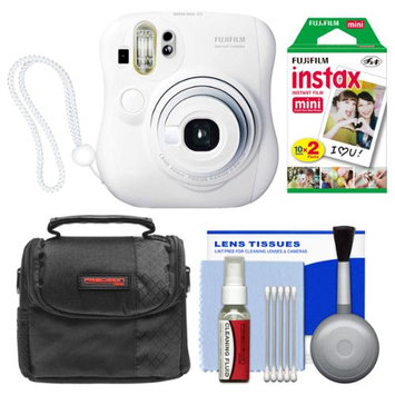 Fujifilm Instax Mini 25 Instant Film Camera (White) with 20 Twin Prints + Case + Kit