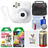 Fujifilm Instax Mini 25 Instant Film Camera (White) with 20 Twin & 10 Rainbow Prints + Album + Case + Battery + Kit