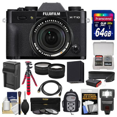 Fujifilm X-T10 Digital Camera & 18-55mm XF Lens (Black) with 64GB Card + Backpack + Flash + Battery & Charger + Tripod + Tele/Wide Lens Kit + FUJIFILM USA Warranty