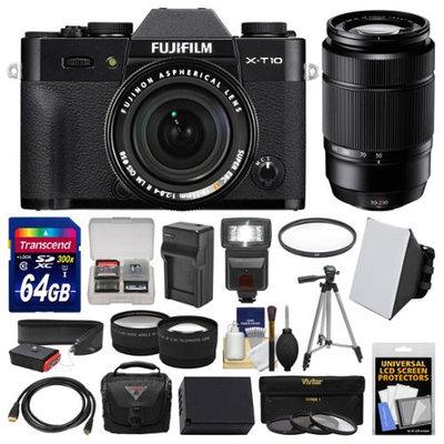 Fujifilm X-T10 Digital Camera & 18-55mm XF Lens (Black) with 50-230mm Lens + 64GB Card + Case + Flash + Battery & Charger + Tripod + 2 Lens Kit + FUJIFILM USA Warranty
