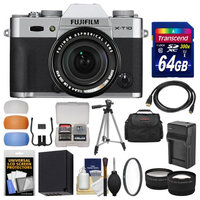 Fujifilm X-T10 Digital Camera & 18-55mm XF Lens (Silver) with 64GB Card + Case + Battery & Charger + Tripod + Tele/Wide Lens Kit with FUJIFILM USA Warranty