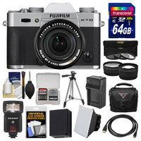 Fujifilm X-T10 Digital Camera & 18-55mm XF Lens (Silver) with 64GB Card + Case + Flash + Battery & Charger + Tripod + Tele/Wide Lens Kit with FUJIFILM USA Warranty