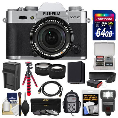Fujifilm X-T10 Digital Camera & 18-55mm XF Lens (Silver) with 64GB Card + Backpack + Flash + Battery & Charger + Tripod + Tele/Wide Lens Kit with FUJIFILM USA Warranty