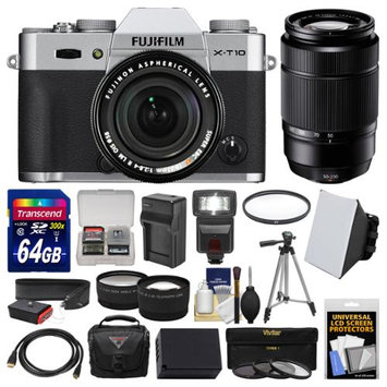 Fujifilm X-T10 Digital Camera & 18-55mm XF (Silver) & 50-230mm Lens + 64GB Card + Case + Flash + Battery & Charger + Tripod + Tele/Wide Lens Kit with FUJIFILM USA Warranty