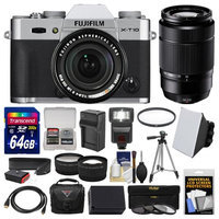 Fujifilm X-T10 Digital Camera & 18-55mm XF (Silver) & 50-230mm Lens + 64GB Card + Case + Flash + Battery & Charger + Tripod + Tele/Wide Lens Kit with FUJIFILM USA Warranty