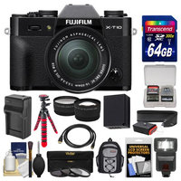 Fujifilm X-T10 Digital Camera & 16-50mm II XC Lens (Black) with 64GB Card + Backpack + Flash + Battery & Charger + Tripod + Tele/Wide Lens Kit with FUJIFILM USA Warranty