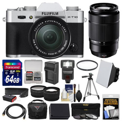Fujifilm X-T10 Digital Camera & 16-50mm II XC (Silver) & 50-230mm Lens + 64GB Card + Case + Flash + Battery & Charger + Tripod + Tele/Wide Lens Kit with FUJIFILM USA Warranty