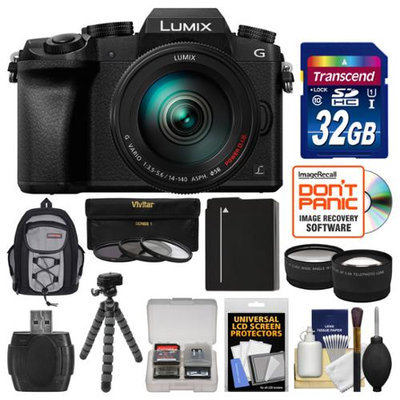 Panasonic Lumix DMC-G7 4K Wi-Fi Digital Camera & 14-140mm Lens with 32GB Card + Backpack + Battery + Flex Tripod + Filters + Tele/Wide Lens Kit with PANASONIC USA Warranty