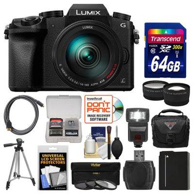 Panasonic Lumix DMC-G7 4K Wi-Fi Digital Camera & 14-140mm Lens with 64GB Card + Case + Flash + Battery + Tripod + Tele/Wide Lens Kit with PANASONIC USA Warranty