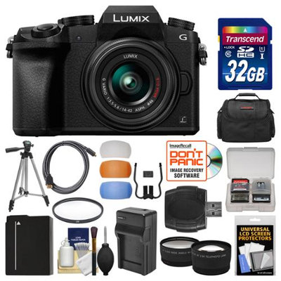 Panasonic Lumix DMC-G7 4K Wi-Fi Digital Camera & 14-42mm Lens (Black) with 32GB Card + Case + Battery & Charger + Tripod + Tele/Wide Lenses Kit with PANASONIC USA Warranty