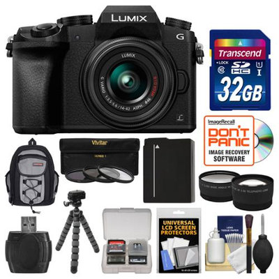 Panasonic Lumix DMC-G7 4K Wi-Fi Digital Camera & 14-42mm Lens (Black) with 32GB Card + Backpack + Battery + Flex Tripod + Filters + Tele/Wide Lens Kit with PANASONIC USA Warranty