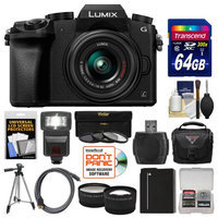 Panasonic Lumix DMC-G7 4K Wi-Fi Digital Camera & 14-42mm Lens (Black) with 64GB Card + Case + Flash + Battery + Tripod + Tele/Wide Lens Kit with PANASONIC USA Warranty