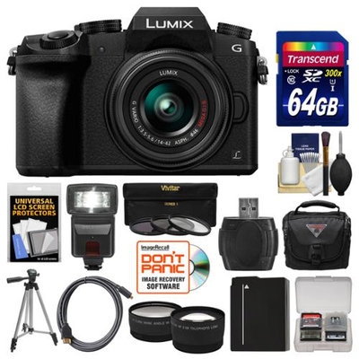 Panasonic Lumix DMC-G7 4K Wi-Fi Digital Camera & 14-42mm Lens (Black) with 64GB Card + Case + Flash + Battery + Tripod + Tele/Wide Lens Kit with PANASONIC USA Warranty