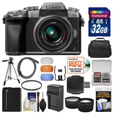 Panasonic Lumix DMC-G7 4K Wi-Fi Digital Camera & 14-42mm Lens (Silver) with 32GB Card + Case + Battery & Charger + Tripod + Tele/Wide Lenses Kit with PANASONIC USA Warranty