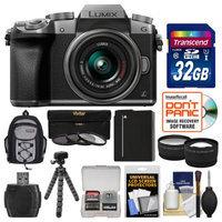 Panasonic Lumix DMC-G7 4K Wi-Fi Digital Camera & 14-42mm Lens (Silver) with 32GB Card + Backpack + Battery + Flex Tripod + Filters + Tele/Wide Lens Kit with PANASONIC USA Warranty