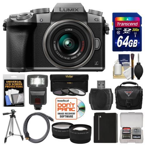 Panasonic Lumix DMC-G7 4K Wi-Fi Digital Camera & 14-42mm Lens (Silver) with 64GB Card + Case + Flash + Battery + Tripod + Tele/Wide Lens Kit with PANASONIC USA Warranty