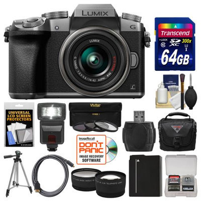 Panasonic Lumix DMC-G7 4K Wi-Fi Digital Camera & 14-42mm Lens (Silver) with 64GB Card + Case + Flash + Battery + Tripod + Tele/Wide Lens Kit with PANASONIC USA Warranty