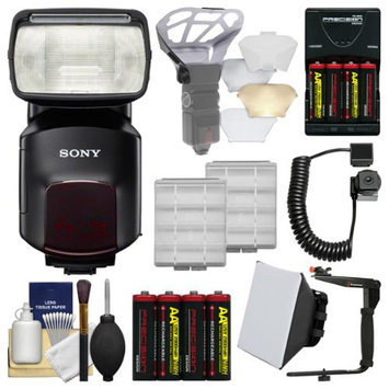 Sony Alpha HVL-F60M Flash with Video Light with Batteries & Charger + Diffuser + Bounce Reflector + Bracket & Cord + Kit