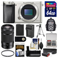 Sony Alpha A6000 Wi-Fi Digital Camera Body (Silver) with 55-210mm Lens + 64GB Card + Backpack + Battery & Charger + Grip + Tripod + Filter Kit + SONY USA Warranty
