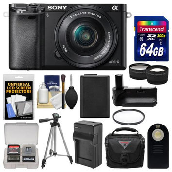 Sony Alpha A6000 Wi-Fi Digital Camera & 16-50mm Lens (Black) with 64GB Card + Case + Battery & Charger + Grip + Tripod + Tele/Wide Lens Kit + SONY USA Warranty