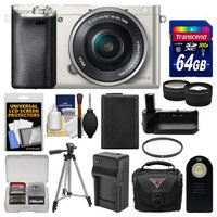 Sony Alpha A6000 Wi-Fi Digital Camera & 16-50mm Lens (Silver) with 64GB Card + Case + Battery & Charger + Grip + Tripod + Tele/Wide Lens Kit + SONY USA Warranty
