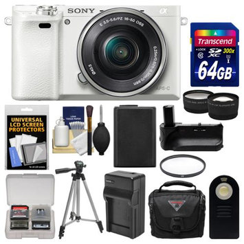 Sony Alpha A6000 Wi-Fi Digital Camera & 16-50mm Lens (White) with 64GB Card + Case + Battery & Charger + Grip + Tripod + Tele/Wide Lens Kit + SONY USA Warranty