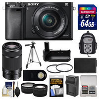 Sony Alpha A6000 Wi-Fi Digital Camera & 16-50mm Lens (Black) with 55-210mm Lens + 64GB Card + Backpack + Battery/Charger + Grip + Tripod + 2 Lens Kit + SONY USA Warranty