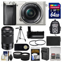 Sony Alpha A6000 Wi-Fi Digital Camera & 16-50mm Lens (Silver) with 55-210mm Lens + 64GB Card + Backpack + Battery/Charger + Grip + Tripod + 2 Lens Kit + SONY USA Warranty