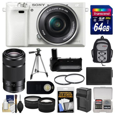 Sony Alpha A6000 Wi-Fi Digital Camera & 16-50mm Lens (White) with 55-210mm Lens + 64GB Card + Backpack + Battery/Charger + Grip + Tripod + 2 Lens Kit + SONY USA Warranty