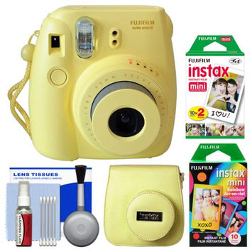 Fujifilm Instax Mini 8 Instant Film Camera (Yellow) with 20 Twin & 10 Rainbow Prints + Case + Kit