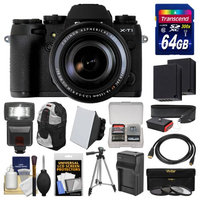 Fujifilm X-T1 Weather Resistant Digital Camera & 18-135mm XF Lens with 64GB Card + Case + Flash + Batteries & Charger + Tripod + Kit with FUJIFILM USA Warranty